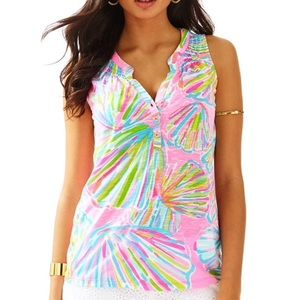 Lilly Pulitzer shell print sleeveless ESSIE top